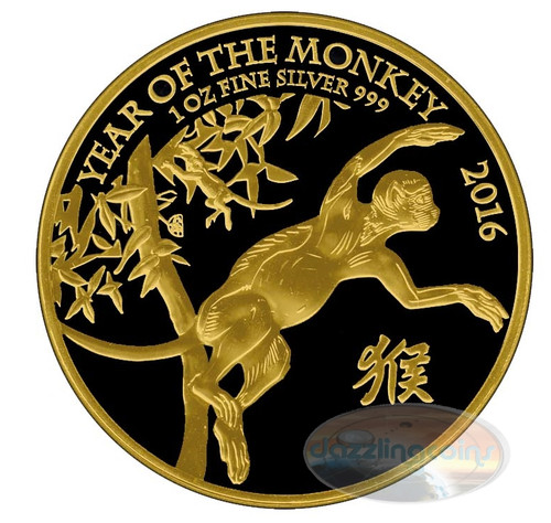 2016 UK £2 Year of the Monkey Gold Black Empire Coin