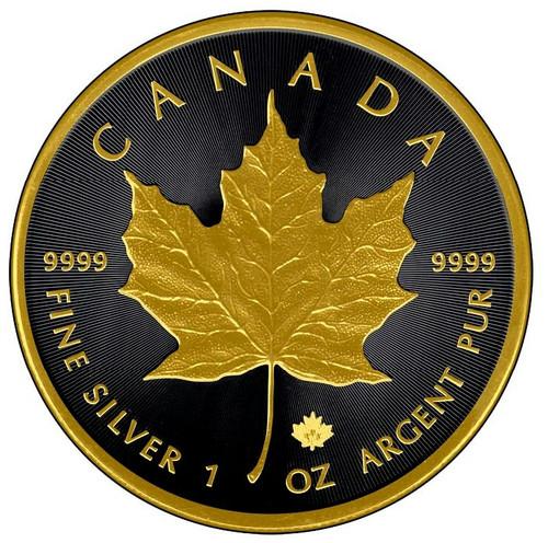 1 oz. Silver Maple Leaf - Gold Black Empire Edition coin 2016 Canada