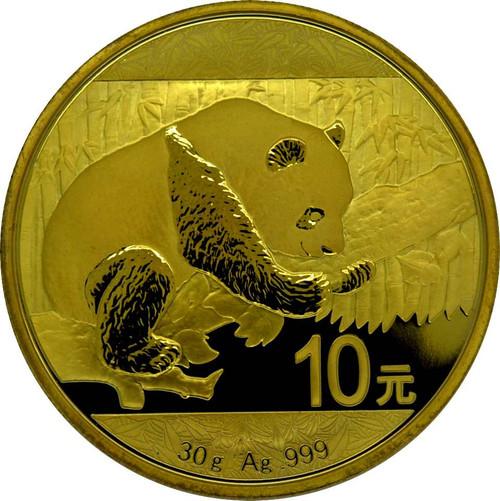 10 Y Panda Silver 24 K Gold full Gilded China 2016