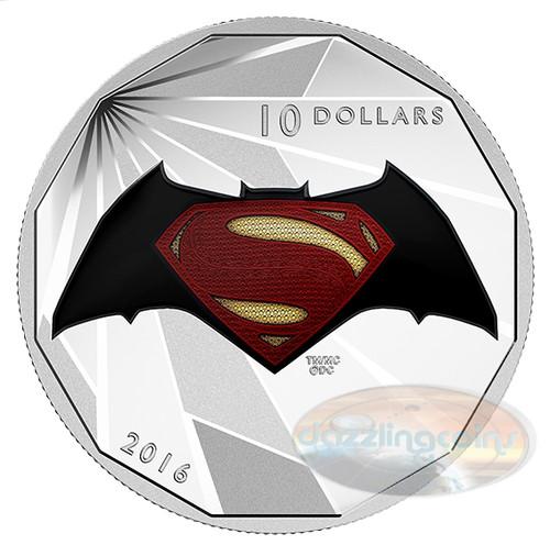 2016 $10 Silver Coin - Batman v Superman- Dawn of Justice LOGO