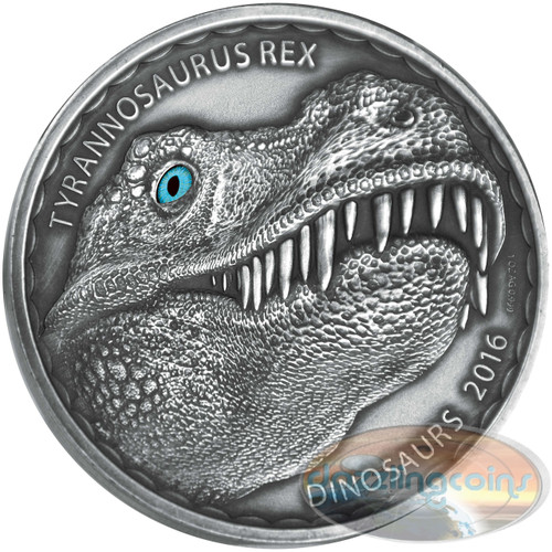 TYRANNOSAURUS REX - 2016 1 oz AF Silver Coin with Real Eye Effect-Burkina Faso
