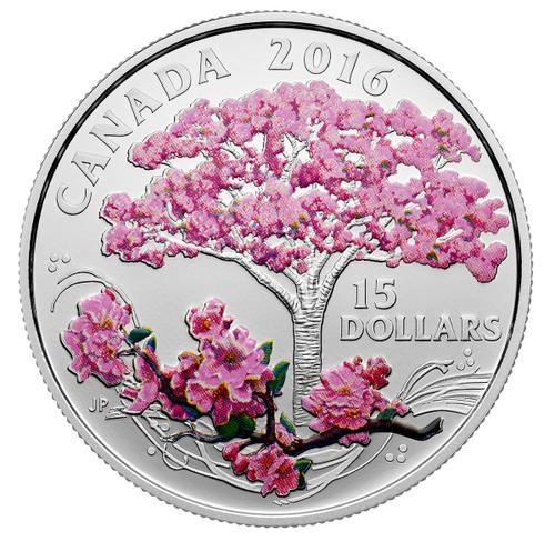 CHERRY BLOSSOMS - 2016 Canada $15 3/4 oz Fine Silver Coin