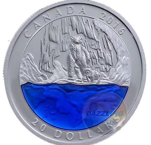 CANADA 2016 Exclusive POLAR BEAR w/ Blue Enamel ICEBERG 1oz Silver Coin