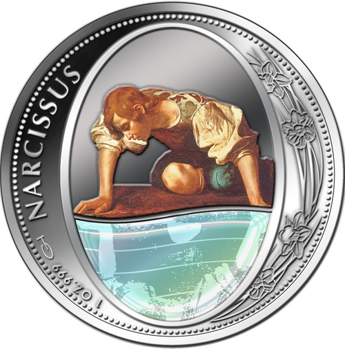 NARCISSUS Greek Myth Mirror 1 Oz Silver Coin 2$ Niue 2016 Antique Finish