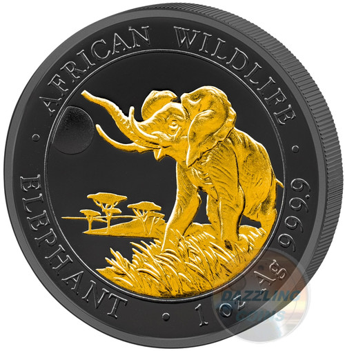 2016 Golden Enigma Elephant - 1oz Silver Ruthenium Gold Plated Coin Somalia