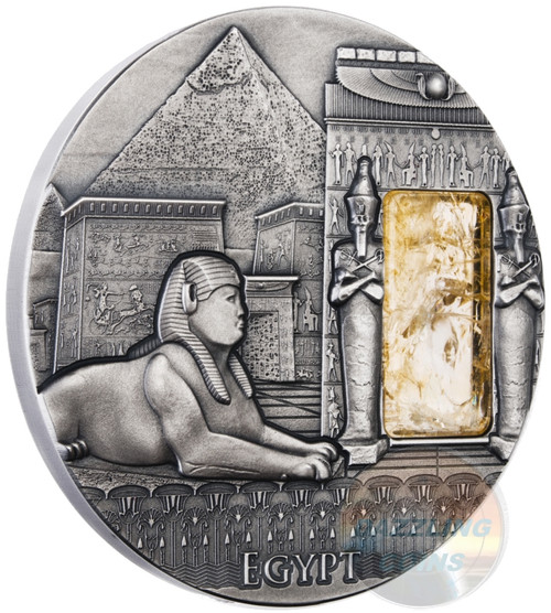 Imperial Art Series - Egypt - High Relief AF w/Citrine Stone - Niue 2 oz Silver Coin