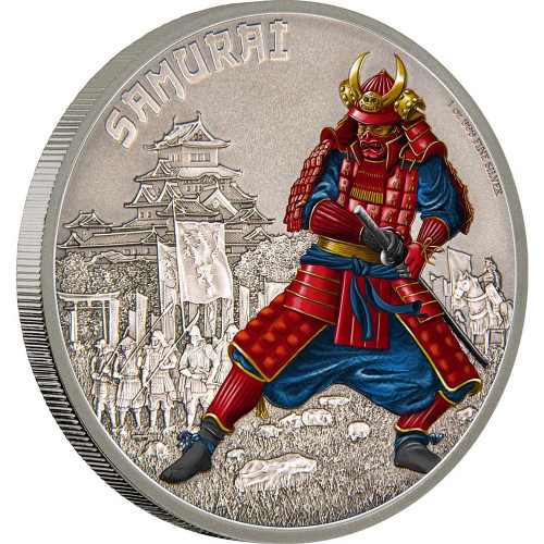 WARRIORS OF HISTORY - SAMURAI - 2016 1 oz Fine Silver Coin - Niue