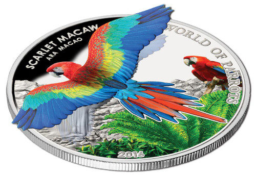 SCARLET MACAW - WORLD OF PARROTS - 2016 $5 Silver Proof 3D Coin