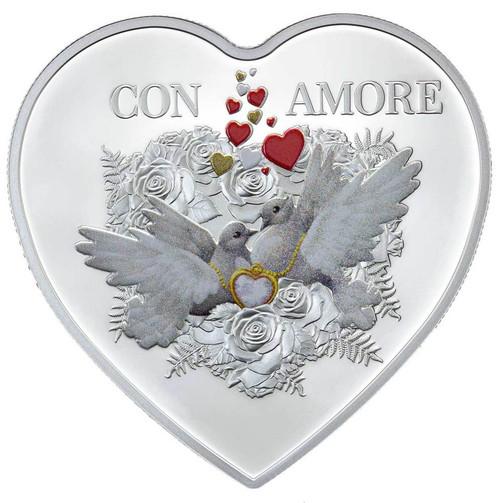 Con Amore Heart-Shaped Silver Coin 2016 Tokelau