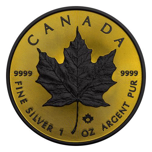 Maple Leaf Gold Shadows 1 Oz Silver Coin $5 2016