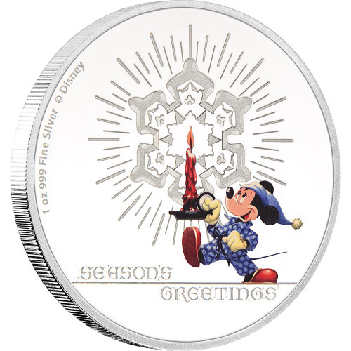 DISNEY - SEASON'S GREETINGS - MICKEY MOUSE - 2016 1 oz Pure Silver Coin - NZ MINT