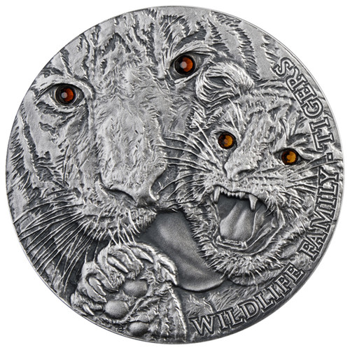 TIGERS Wildlife Family Panthera Tigris Silver Coin 1$ 1 Oz Niue 2013