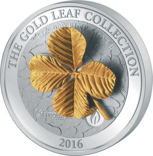 The Gold Leaf - 3D FOUR LEAF CLOVER $10 1oz Silver Coin - Samoa 2016