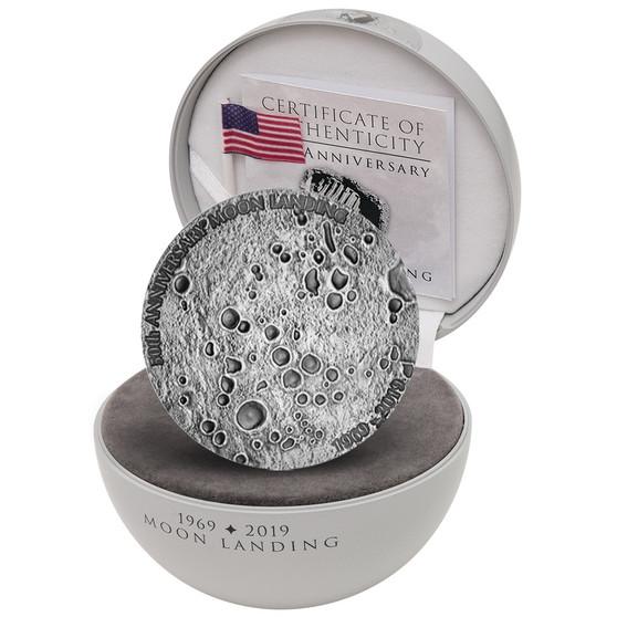 50 Ann. of Moon Landing 1 oz silver domed shape coin Congo 2019