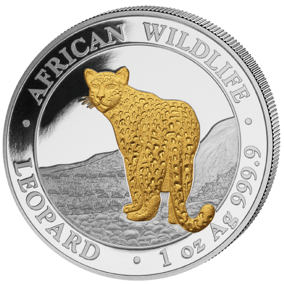 LEOPARD African Wildlife 1 oz silver 24K gold gilded coin Somalie 2019