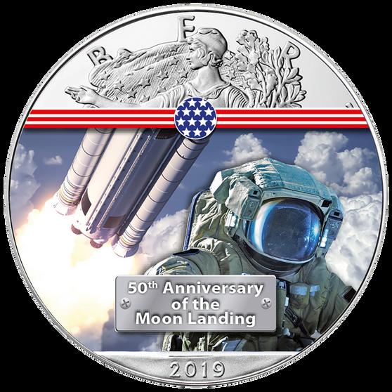 NEXT STEP TO THE MOON - 50th. ANN. 1 oz Silver Eagle Coin 2019 USA