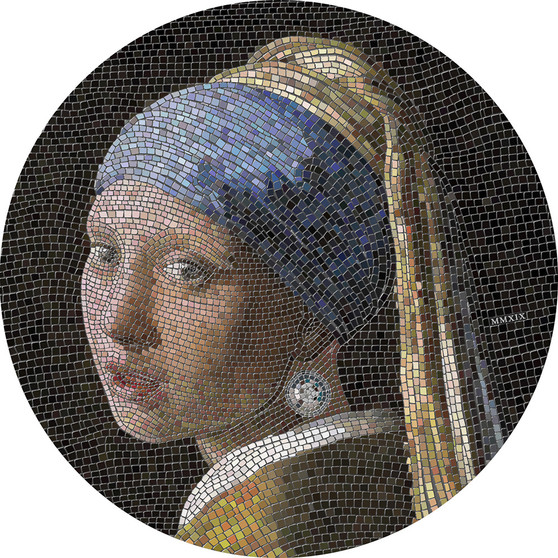 GIRL PEARL EARRING Vermeer Great Micromosaic Passion 3 Oz Silver Coin 20$ Palau 2019