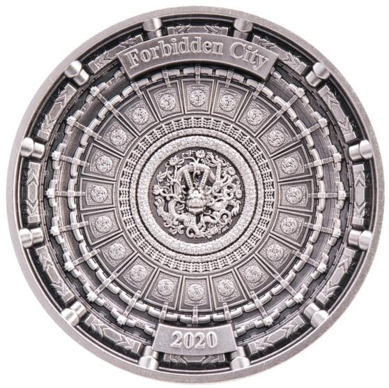 Forbidden City 100 g Antique Finish 4-Layer Silver Coin 10$ Solomon Islands 2020