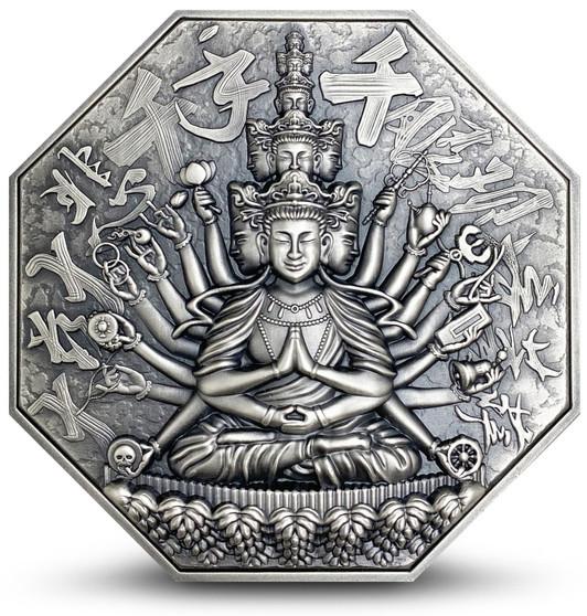 GODDESS OF MERCY WITH ONE THOUSAND HANDS Avalokiteśvara 5 oz Silver Coin Niue 2020