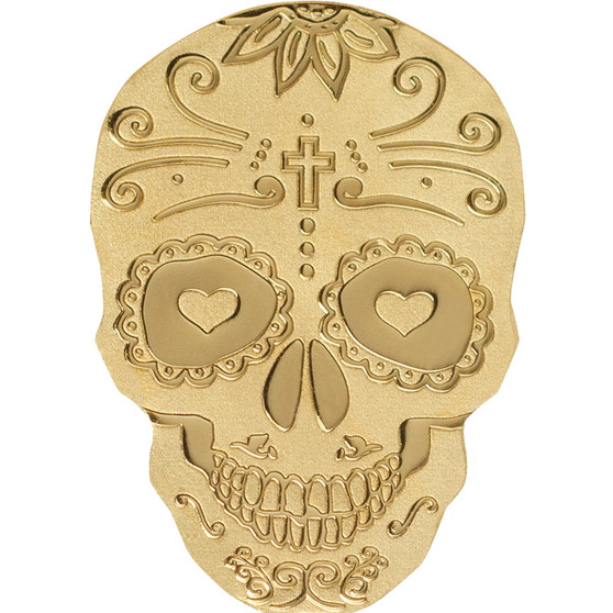 Golden LA CATRINA SKULL 0.5 g Gold Silk finish Coin Palau