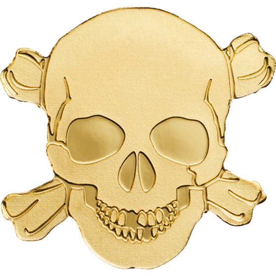 Golden PIRATE SKULL 0.5 g Gold Silk finish Coin Palau