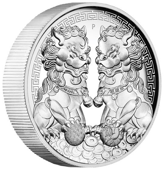 GUARDIAN LION DOUBLE PIXIU 2 oz Proof Silver High Relief Coin AUS 2020