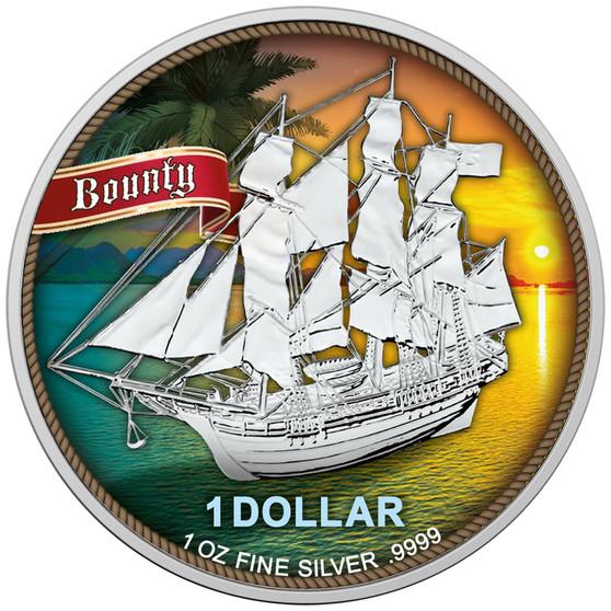 SAILING SHIP BOUNTY - SUNSET 1 oz Silver Color Coin 2020 Cook Island