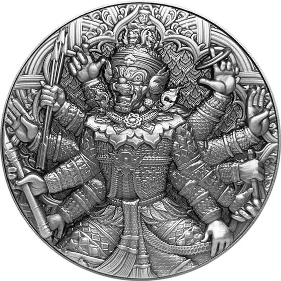 TOSSAKAN The Ramakien Series – 2 oz Silver Coin w/11.5 oz CU Frame COA 2020 Chad