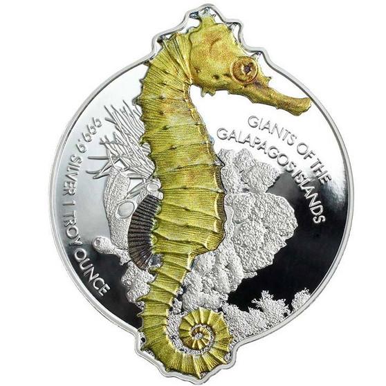 GIANT SEAHORSE The Galapagos Islands 1 oz Silver Coin Solomon Islands 2020