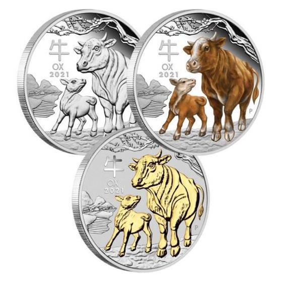 Year of the OX Trio Lunar III Set 3 x 1oz Silver Proof Coin $5 Australia 2021
