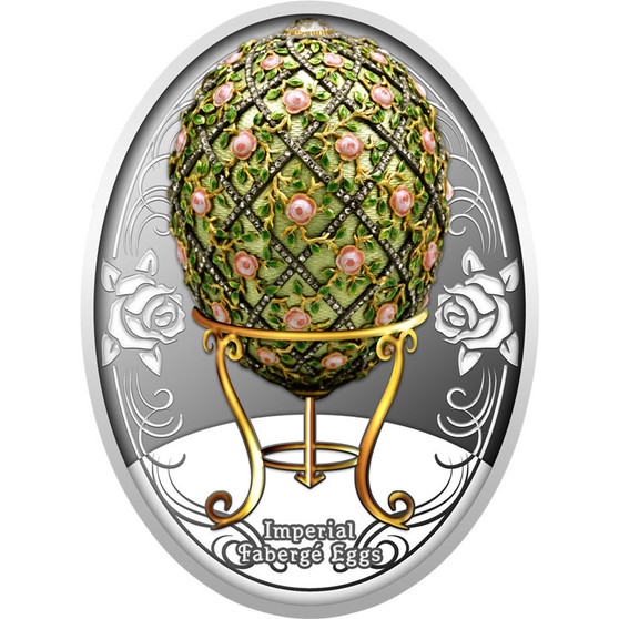 ROSE TRELLIS EGG Faberge Silver Color Coin Niue 2020