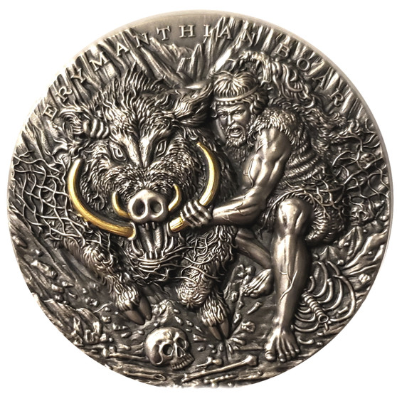ERYMANTHIAN BOAR Twelve Labours of Hercules 2 Oz Silver Coin Niue 2020