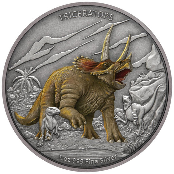 TRICERATOPS Dinosaur 1 oz Silver Proof Coin Niue 2020