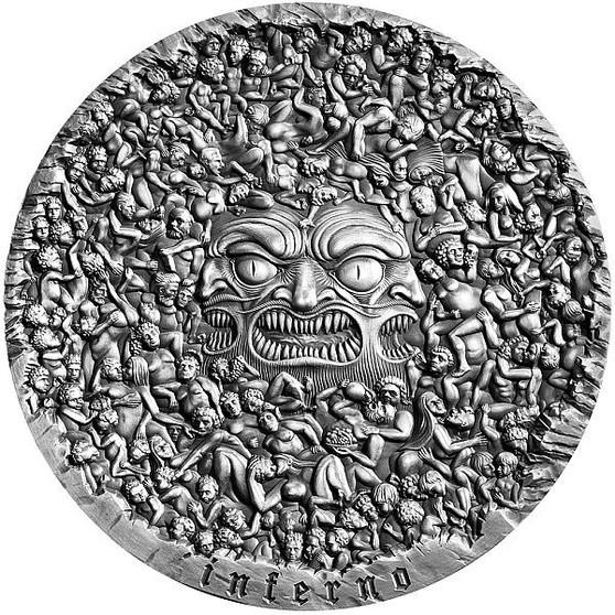 INFERNO Dante 700th Ann. 5 Oz Silver Coin 5000 CFA Cameroon 2020