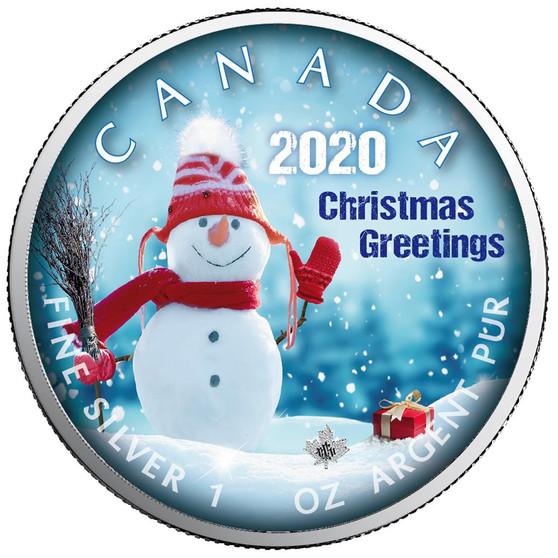 SNOWMAN Maple Leaf 1 oz Silver Coin Canada 2020