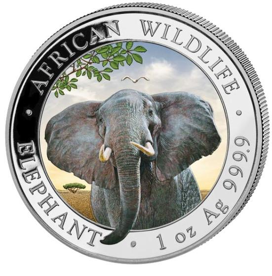 2021 ELEPHANT African Wildlife Coin 1 oz Silver Color coin Somalia