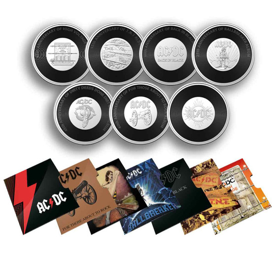 AC/DC collection 7 Coins set with Albums covers 20c Australia 2021