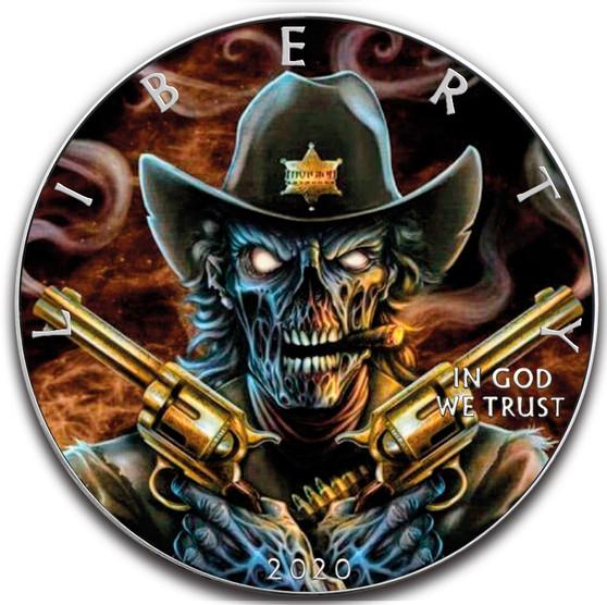 DEPUTY SKULL 1 oz Silver Eagle Silver Colorized Coin USA 2020
