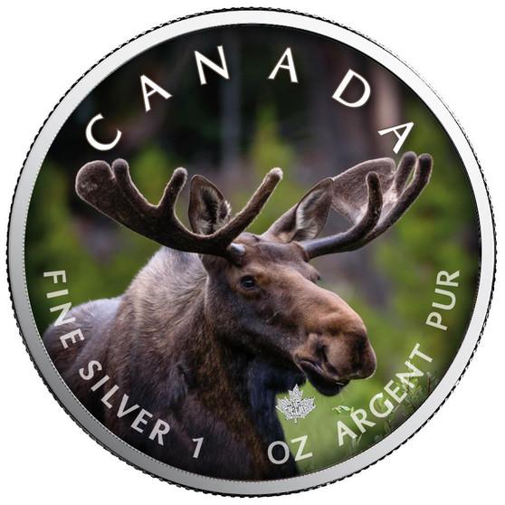 MOOSE Canada's Wildlife Maple Leaf 1 oz. Silver Coin Canada 2021