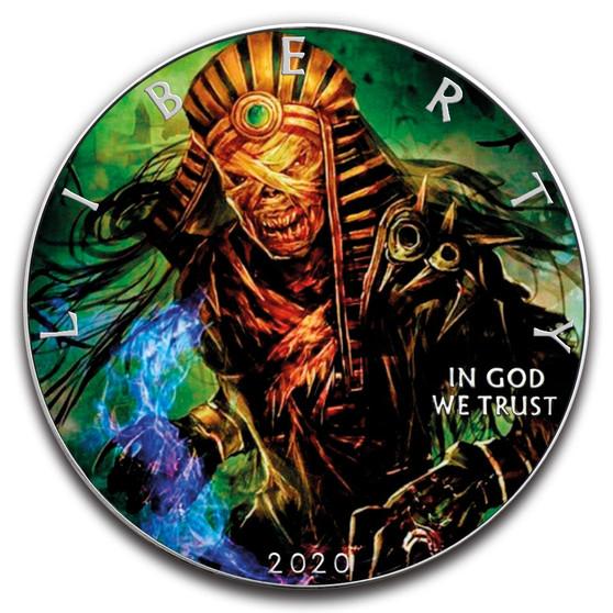 MUMMY PHARAOH Skeleton 1 oz. Silver Eagle Color Coin USA 2020