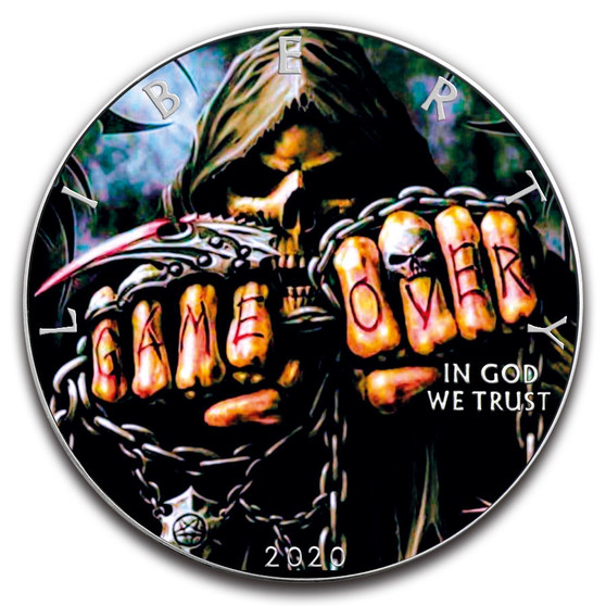 GAME OVER 1 oz. Silver Eagle Color Coin USA 2020