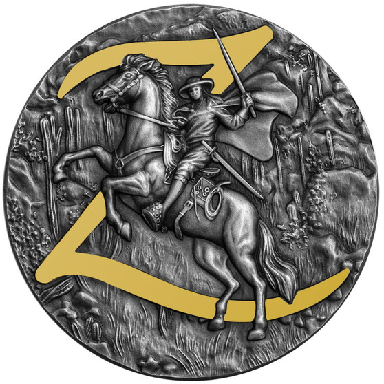 The Legend of ZORRO 2 Oz Silver Antiqued high relief Coin $5 Niue 2021