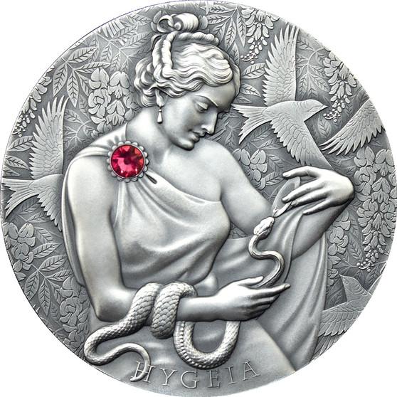 HYGIEIA 2 oz Antiqued Silver Coin with Swarovski crystal 10 Cedis Ghana 2021