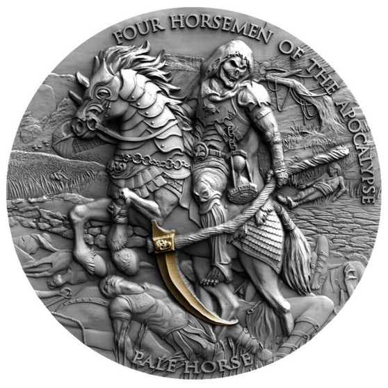 PALE HORSE Four Horsemen Of The Apocalypse 2 oz Silver Coin 5$ Niue 2021