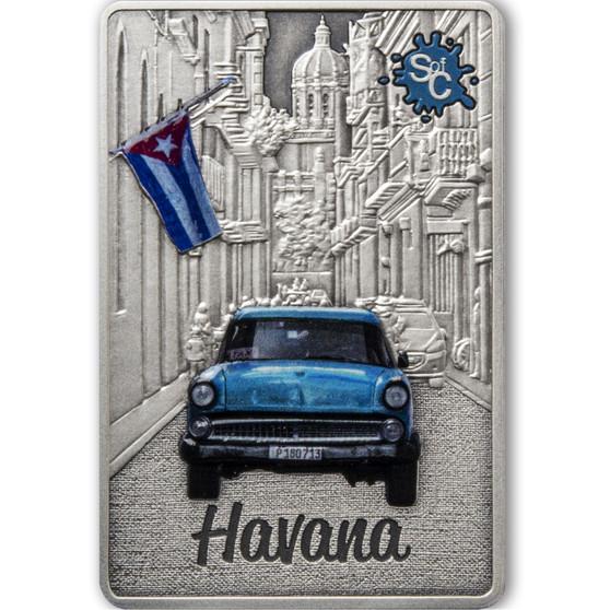 HAVANA Splash of Color 2 oz Silver Coin $5 Samoa 2021