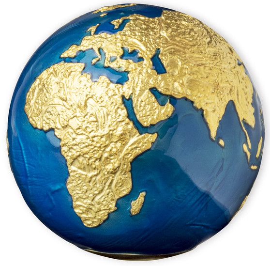 BLUE MARBLE 24K Gold Plated Earth Spherical 3 oz Silver Coin Barbados 2021