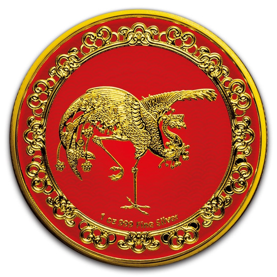 RED PHOENIX The Celestial Animals 1 oz Gilded Silver Coin Niue 2020