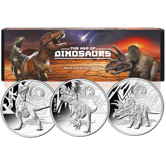 AGE OF DINOSAURS 3 x 1 oz Silver Coins Set Solomon Island 2021