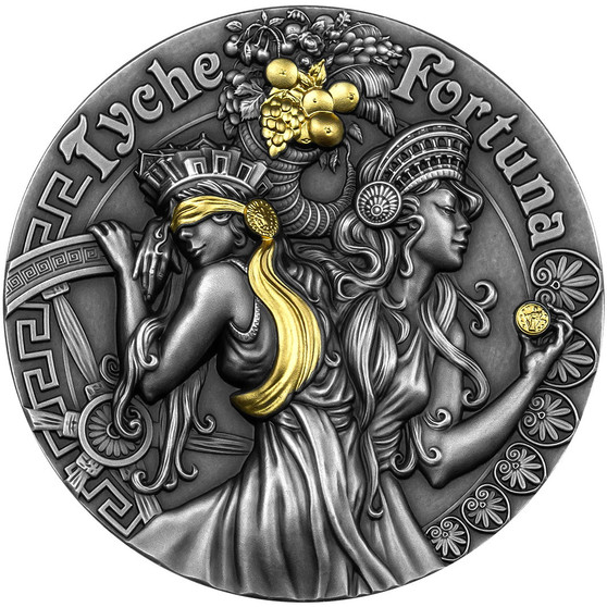FORTUNA AND TYCHE Goddesses 2 oz Silver Coin 5$ Niue 2021