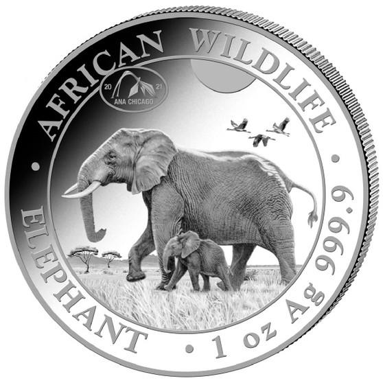ELEPHANT EXCLUSIVE Chicago ANA PRIVY- 1 oz Silver Coin 2021 Somalia